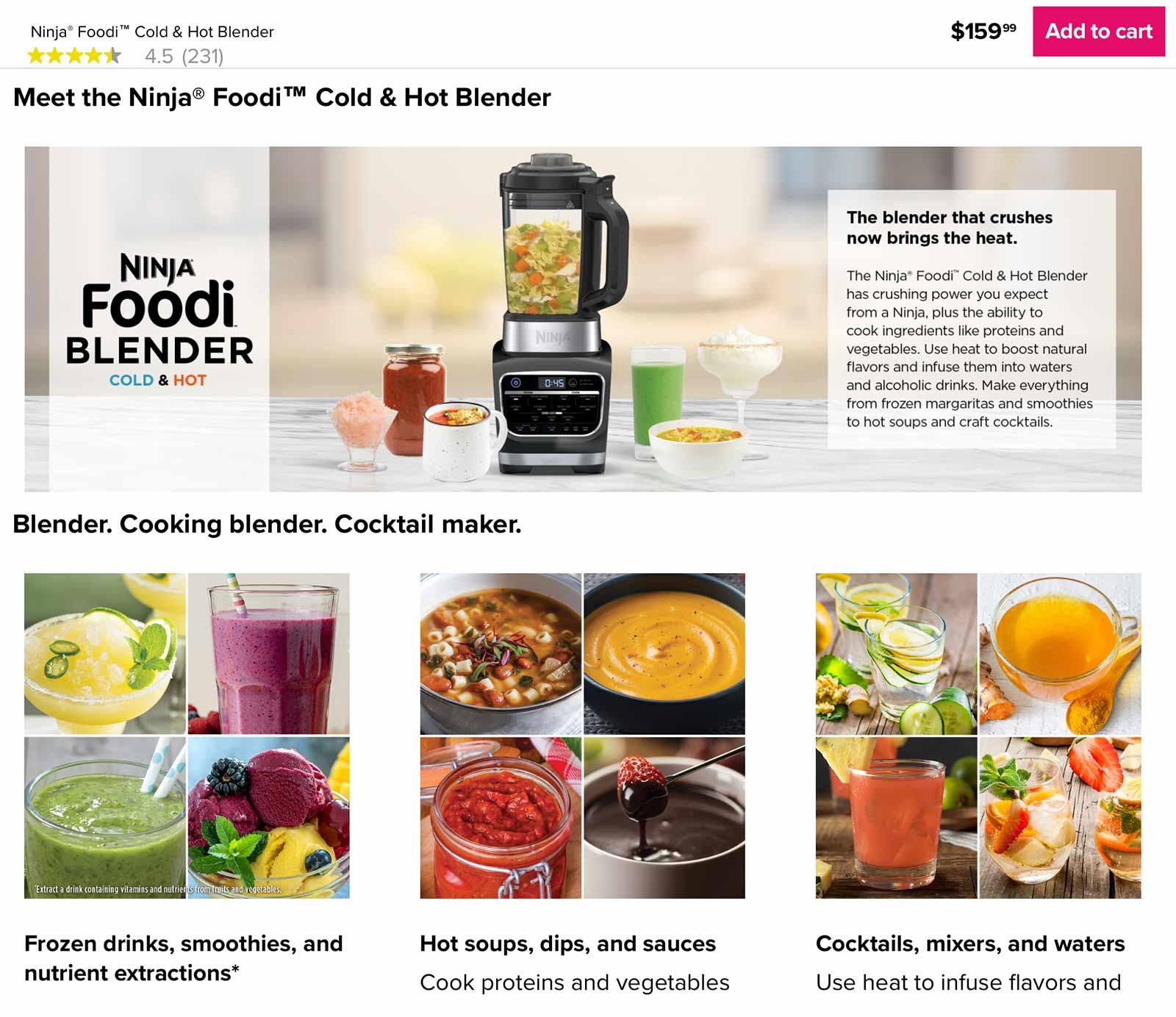 Ninja Foodi Blender page