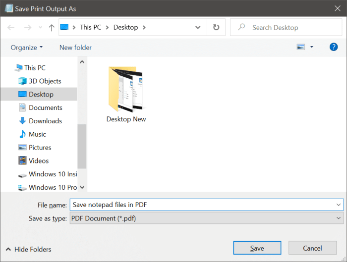 save text file in notepad as PDF or HTML in Windows 10 pic7