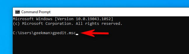 At the Windows 10 command line, type