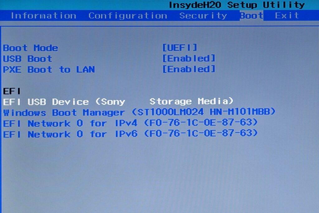 BIOS settings boot order