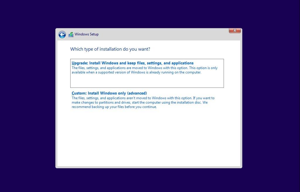Windows 10 installation type