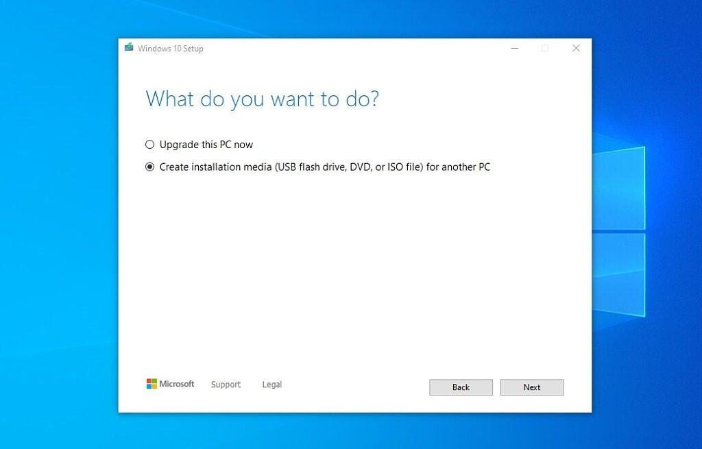 Windows 10 installation media creation tool - create installation media