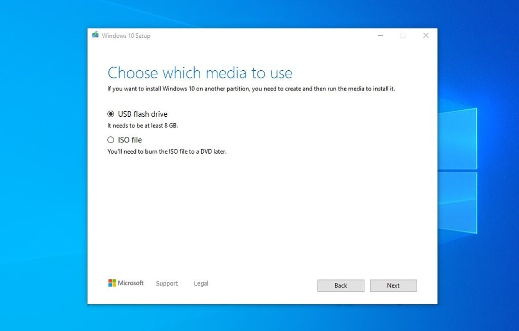 Windows 10 installation media creation tool - choose media