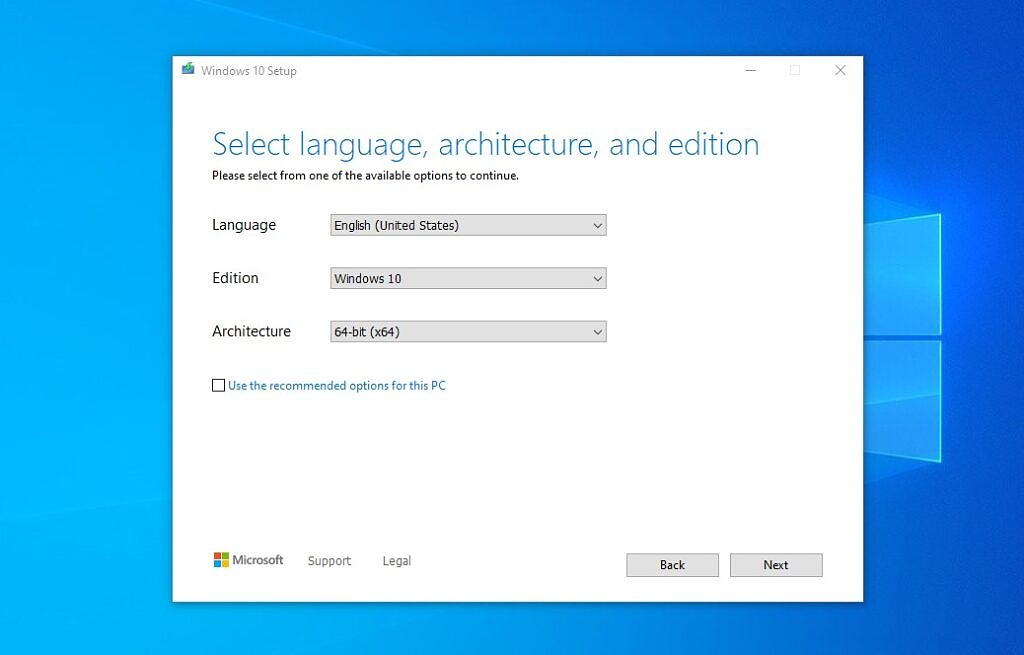Windows 10 installation media creation tool - select language