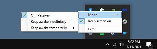 """A little menu will open and you can select """"Keep Screen On"""" and mouse-over """"Mode"""" to switch the mode right from here."""