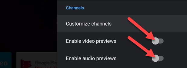 """Toggle off both """"Enable Video Previews"""" and """"Enable Audio Previews."""""""
