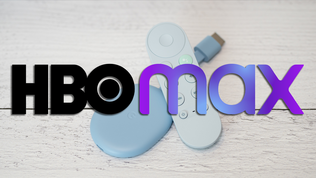 Chromecast with an HBO Max logo.