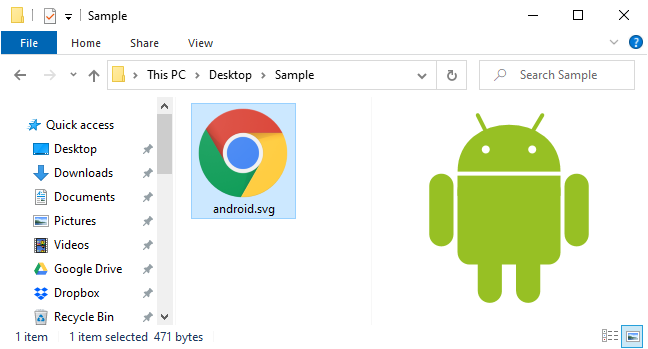 Previewing an SVG file in File Explorer's Preview pane.