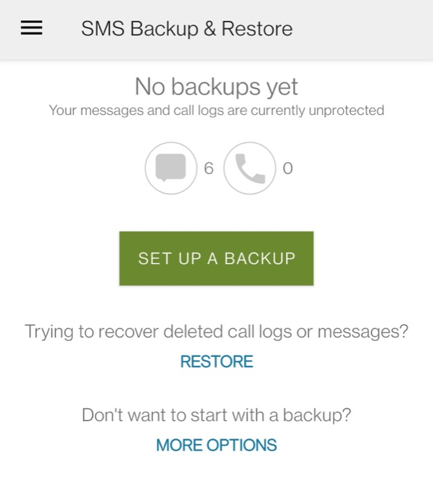 SMS data back up on Android