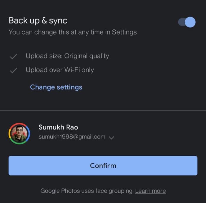 Google Photos sync