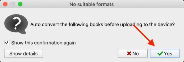 Click Yes to convert the book