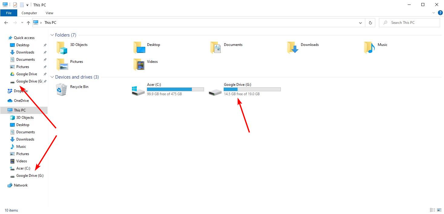 Drive for Desktop Windows File Explorer