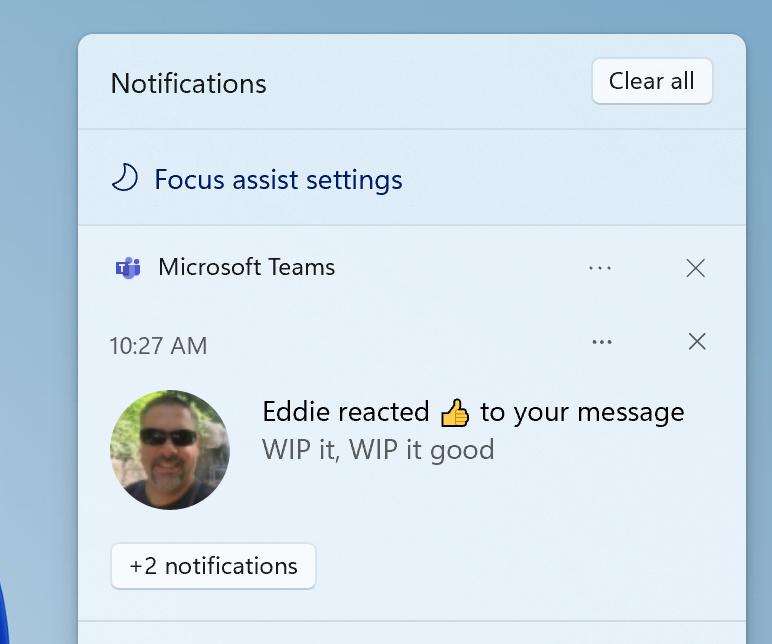 Focus Assist in Windows 11 Notification Center