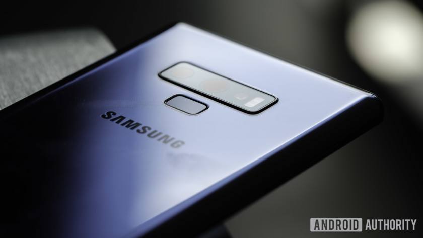 Rear view of the Galaxy Note 9.