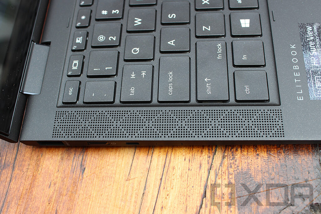 Close up of HP Elite Dragonfly Max speaker