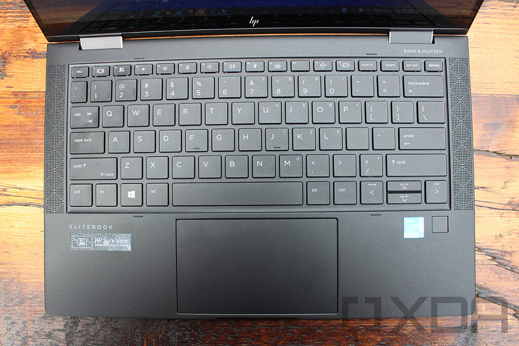 Top down view of HP Elite Dragonfly Max keyboard