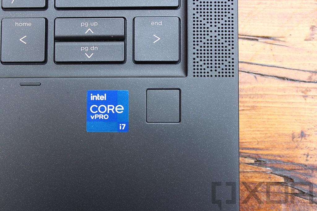 Close up of HP Elite Dragonfly Max fingerprint sensor