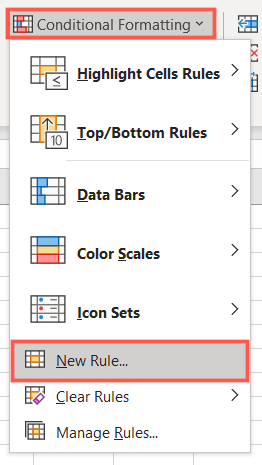 On the Home tab, click Conditional Formatting, New Rule
