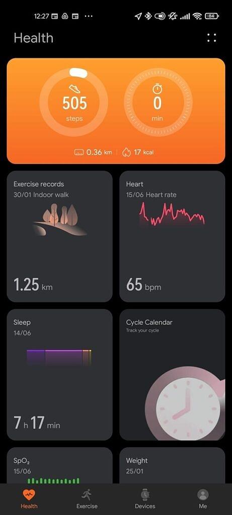 Huawei Health app dashboard