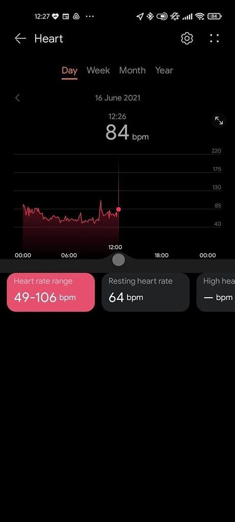 Huawei Health app heart rate