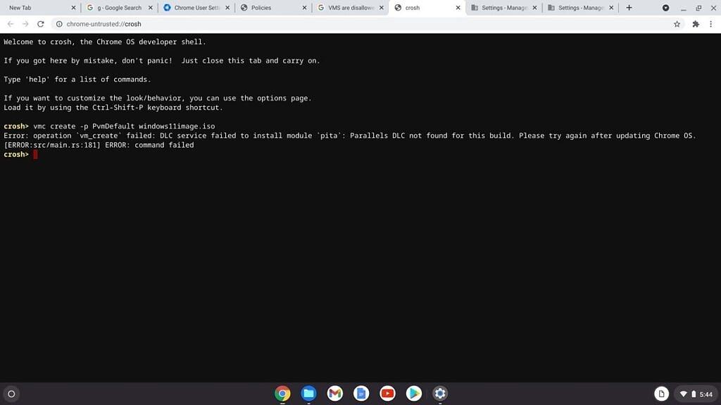 Crosh error in Chrome OS
