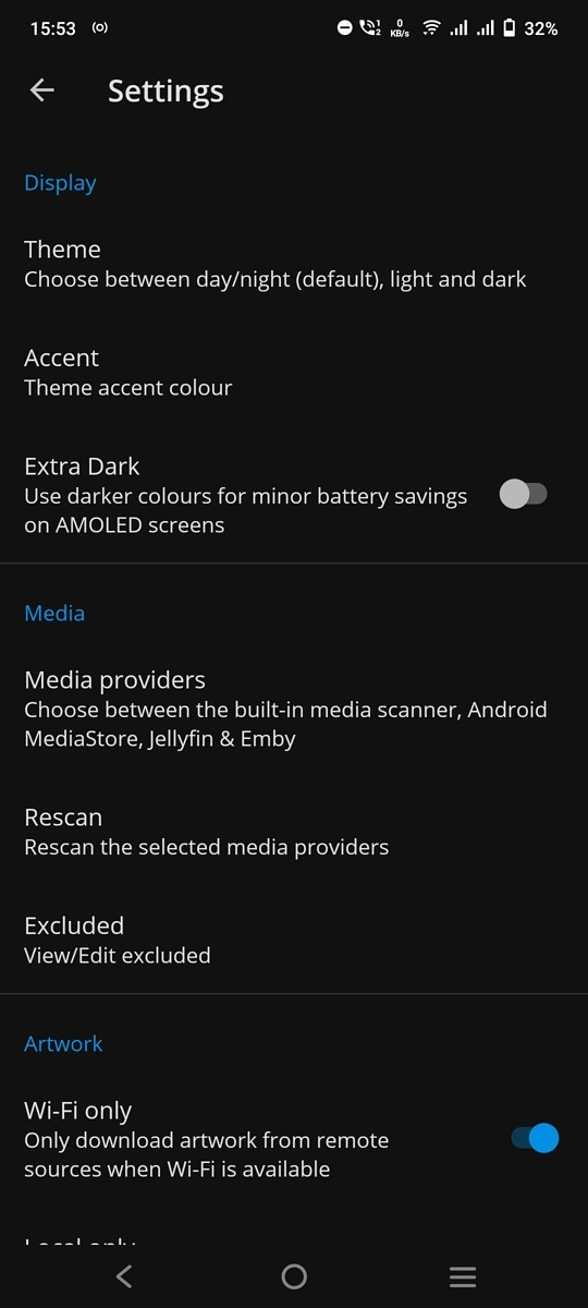 S2 Music Player Settings page
