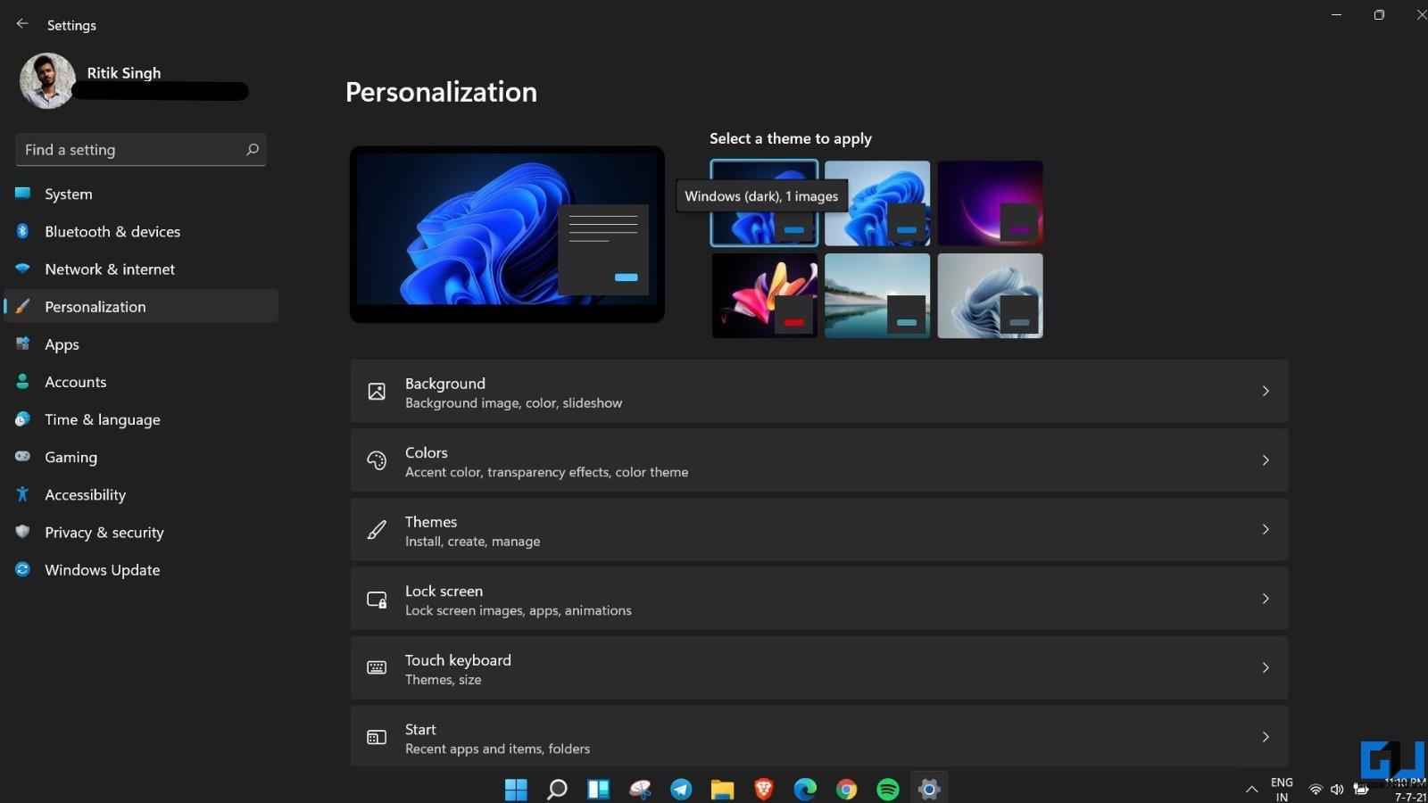 Enable Dark Mode on Windows 11