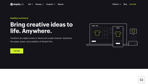 Home page of Shopify Plus