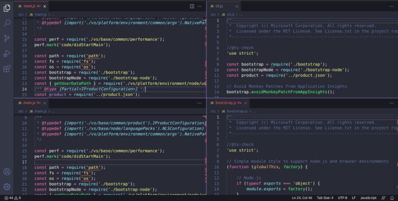 Split VS Code
