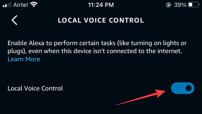 Toggle on the option for