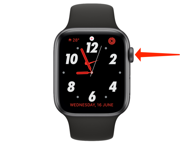 Press the Digital Crown, which is the large circular dial-like button on the side of the Apple Watch.