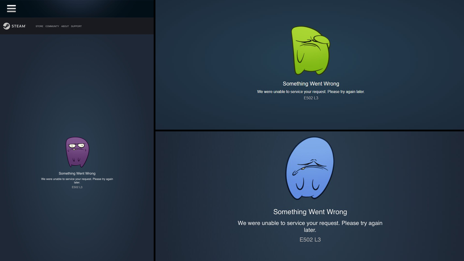 Valve's reservation system showing errors.