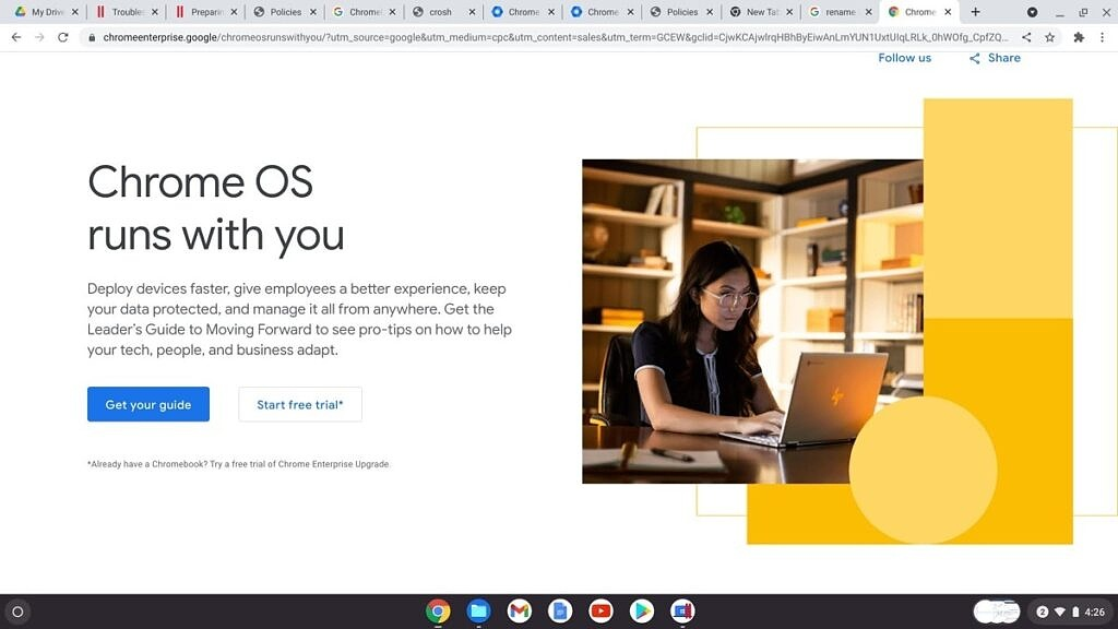 Chrome enterprise upgrade page