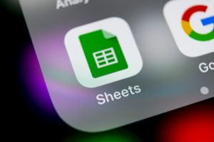 Sankt-Petersburg, Russia, August 16, 2018: Google Sheets icon on Apple iPhone X smartphone screen close-up. Google sheets icon. Social network. Social media icon