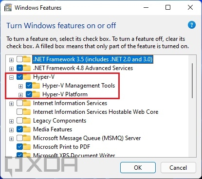 Hyper-V enabled in Windows Features