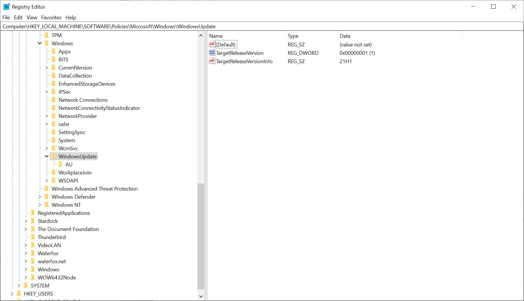 registry windows update