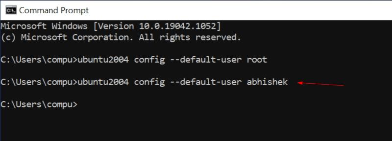 set regular user as default wsl