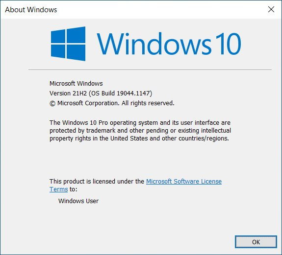 Upgraded to Windows 10 Version 21H2 Build 19044.1147