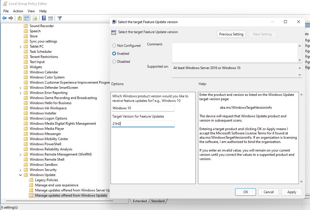 windows 11 set target version update