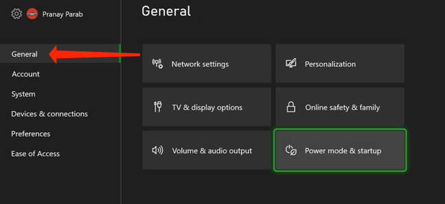 In Xbox Series X|S settings, navigate to the