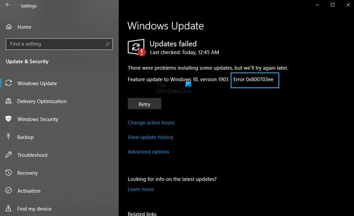 0x800703ee Windows Update error