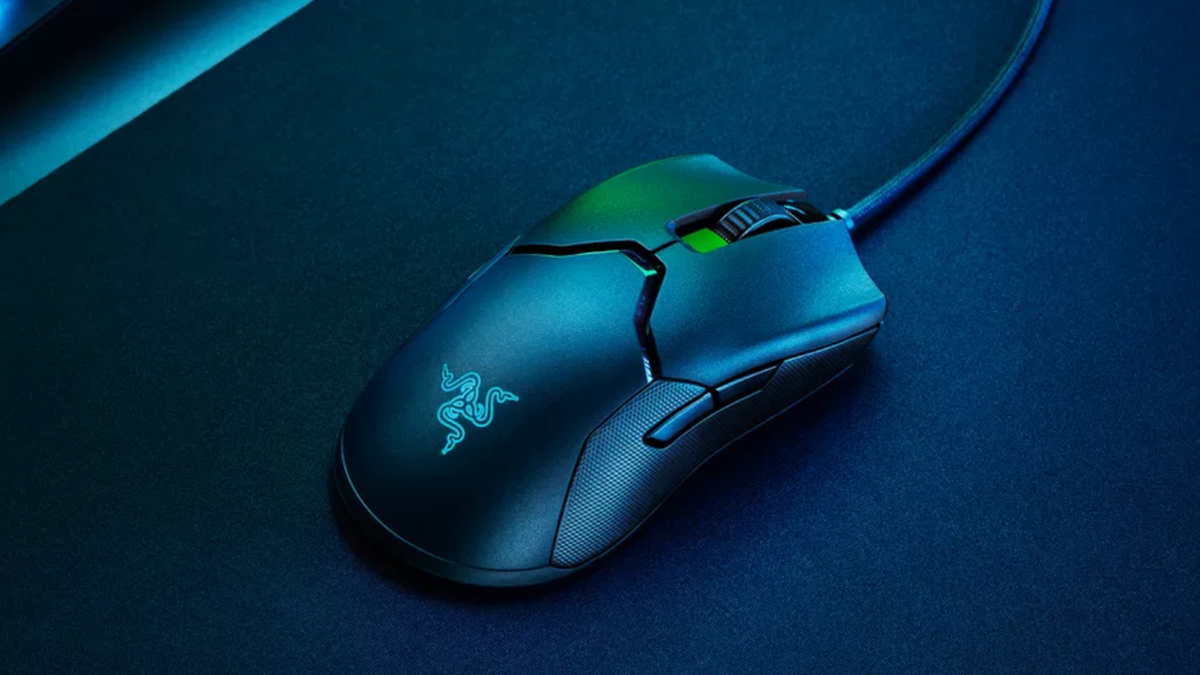 Razer Viper 8K gaming mouse with blue and green lights shining on it