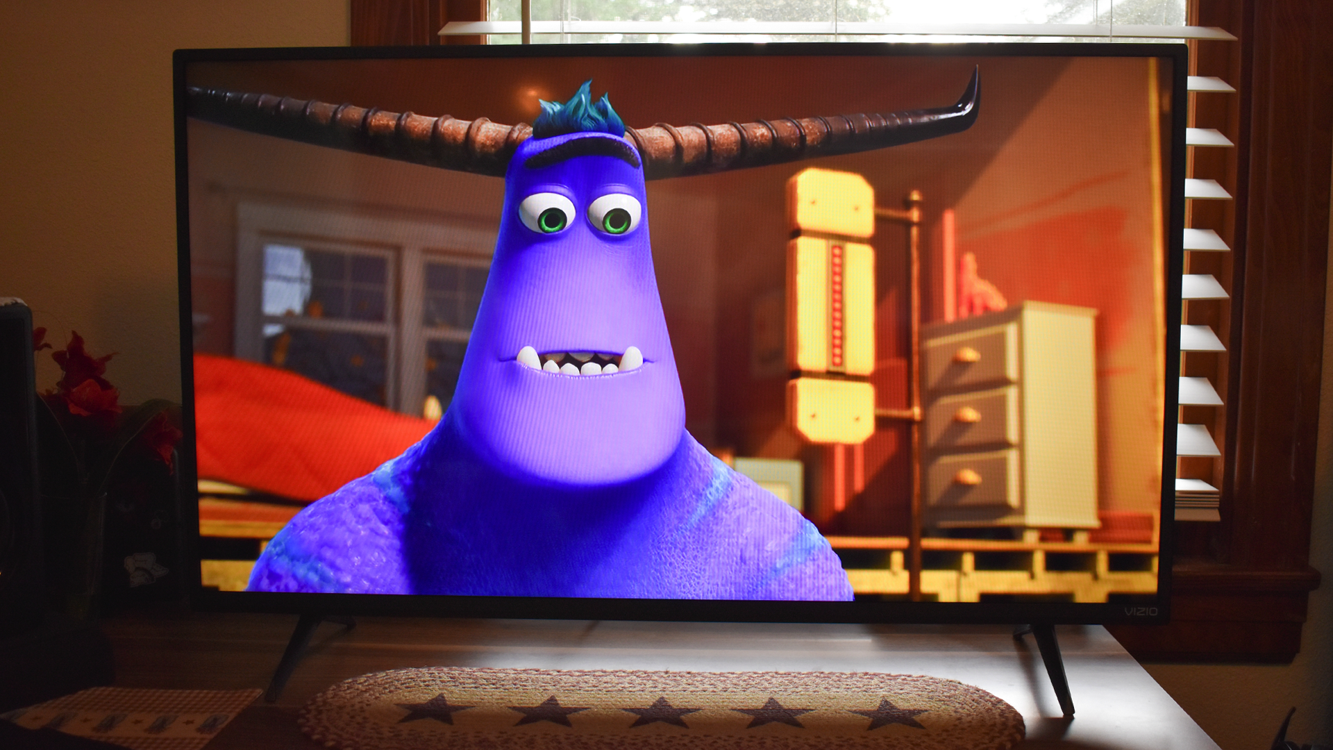 The Vizio TV playing Monsters Inc