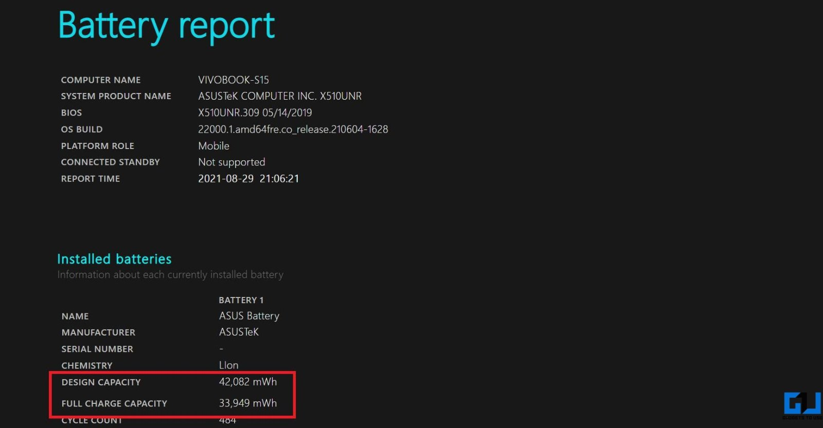 Check Laptop Battery Health Report on Windows 11