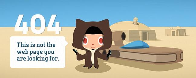 404 error page example from the website github