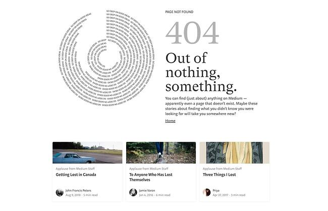 404 error page example from the website medium
