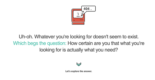 404 error page example from the website ervin and smith