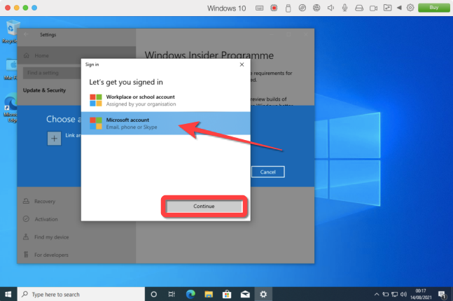 """Choose """"Microsoft Account"""" option and select """"Continue"""" to link your account."""