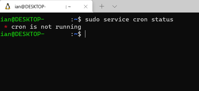 A Windows WSL terminal window showing that cron is not running.