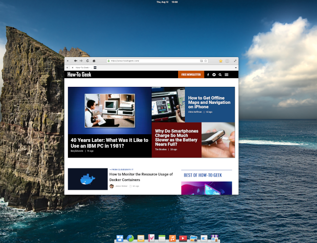 Elementary OS 6 desktop with web browser displaying HowToGeek.com
